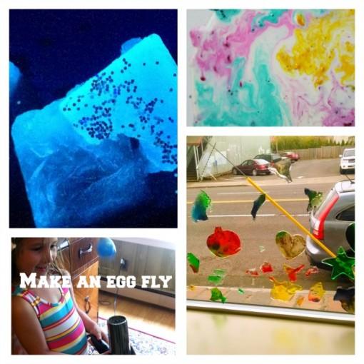 10 STEM activities for preschoolers glow in the dark egg fly gel clings milk explosion Left Brain Craft Brain