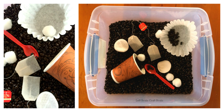 coffee sensory bin left brain craft brain