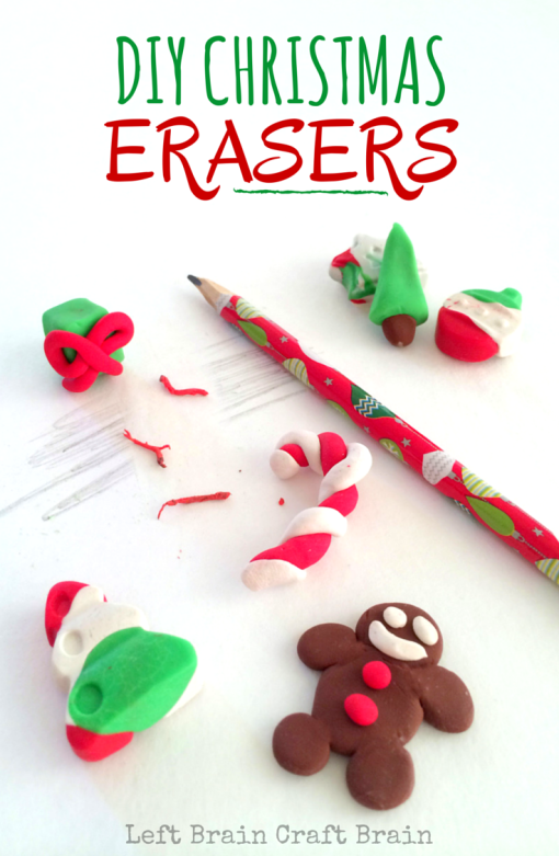 Mold your own Christmas Erasers with this easy craft activity. Gingerbread people, candy canes, trees and more are fun for kids to make and use.