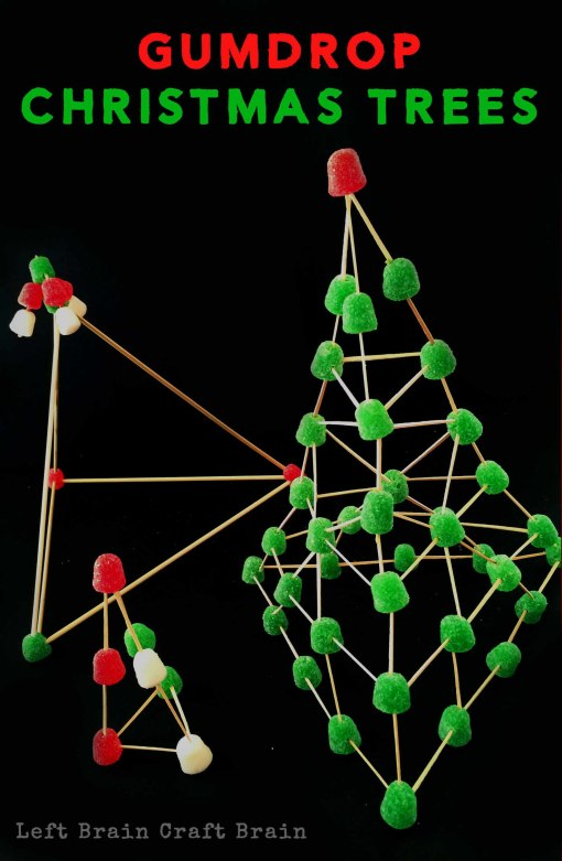 Gumdrop Christmas Trees are a sweet and festive way to build STEM skills with kids. Perfect Christmas craft!