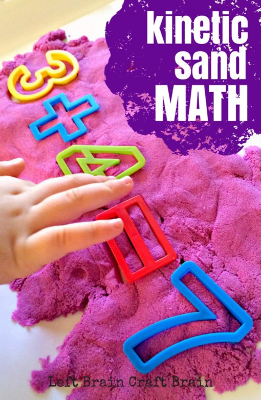Kinetic Sand Math is a messy fun way to play and learn.  Perfect for preschool and early elementary kids!