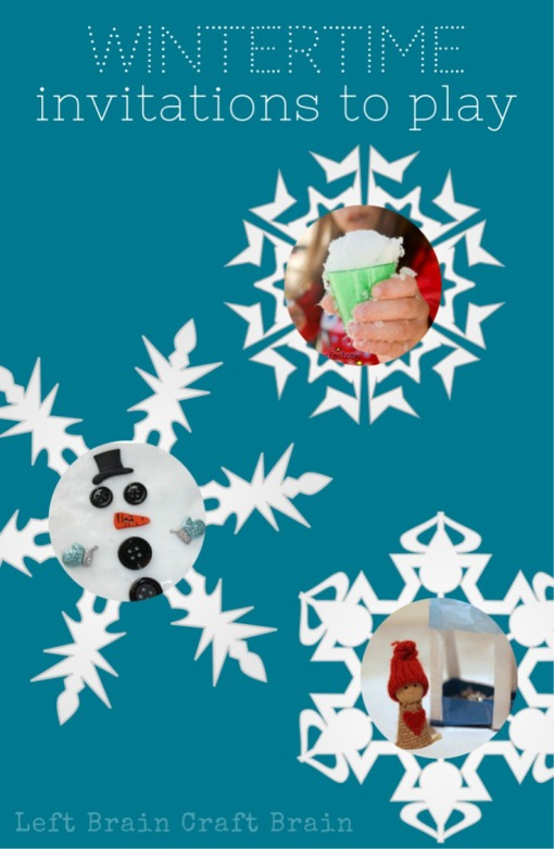 Create a bit of winter with these invitations to play. Snowmen, sensory and pretend play ideas perfect for kids when it's too cold to go outside.