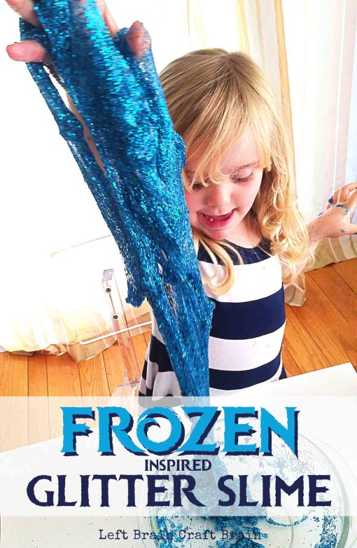 Enjoy some glittery, slippery, Elsa inspired fun with this easy to make Frozen glitter slime recipe.