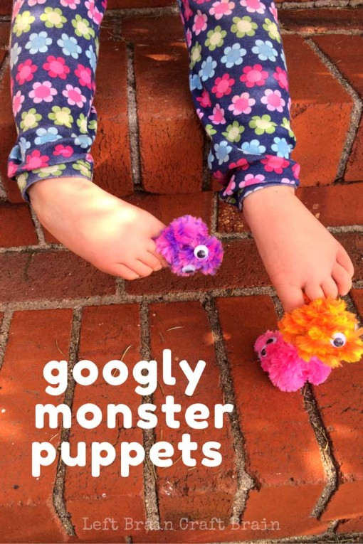Make these super simple googly monster finger puppets (or toe puppets!) and invite the kids to have some fun, imaginative play.