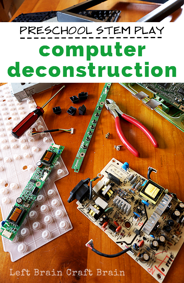 Computer deconstruction is perfect preschool STEM play because tinkering with electronic parts helps kids develop creativity and problem solving skills.