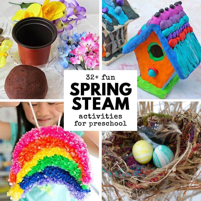 Learn this spring with STEAM! Tons of garden, Easter, weather, birds & butterfly Science, Technology, Engineering, Art & Math activities for preschoolers.