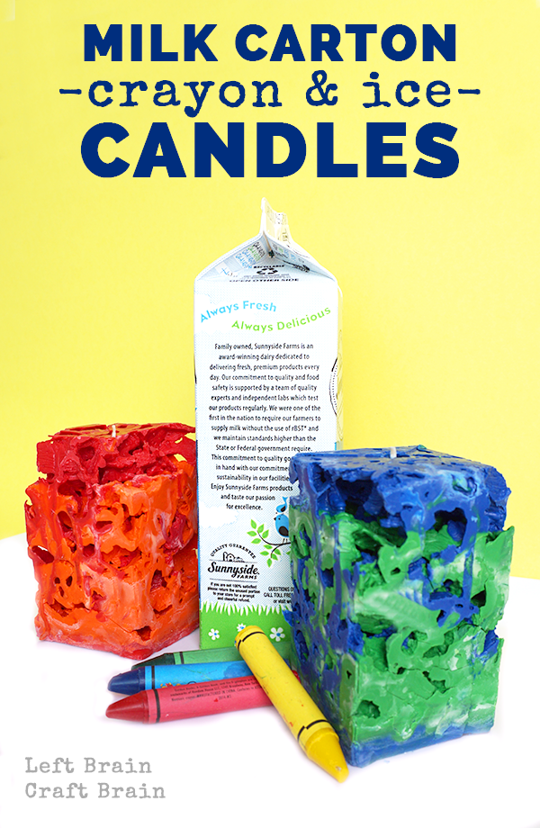 Upcycle your old crayons and milk cartons into these gorgeous, airy ice candles.
