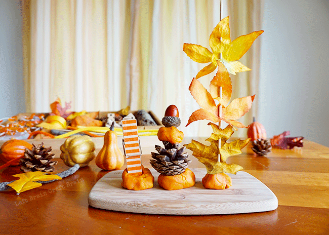 Celebrate fall with this Tinker Tray. Kids will build creative brain power and STEM skills while having fun tinkering with pumpkins, leaves and more.