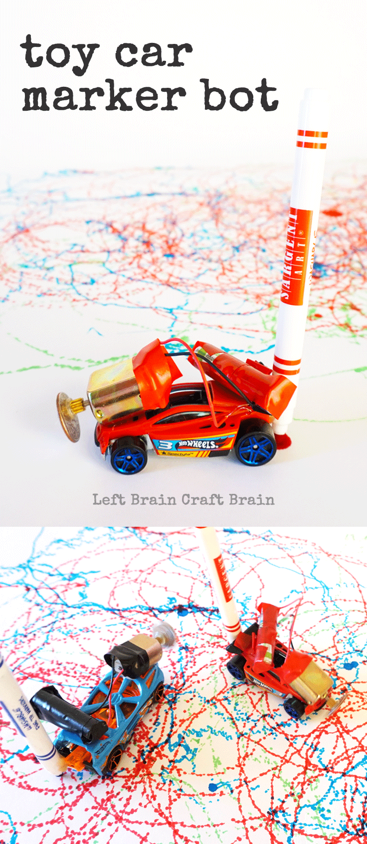 Upcycle those old toy cars with STEAM with these creative Toy Car Marker Bots.