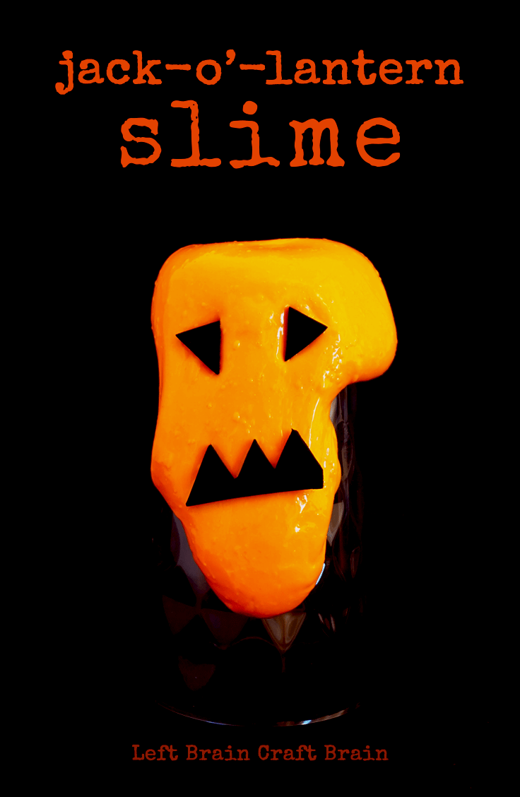 Make this silly and simple jack-o'-lantern halloween slime for Halloween activities or parties. It makes a great party favor too!