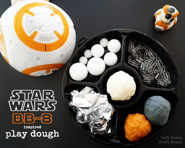 Have some Star Wars: The Force Awakens droid building fun with this BB-8 inspired play dough tray.