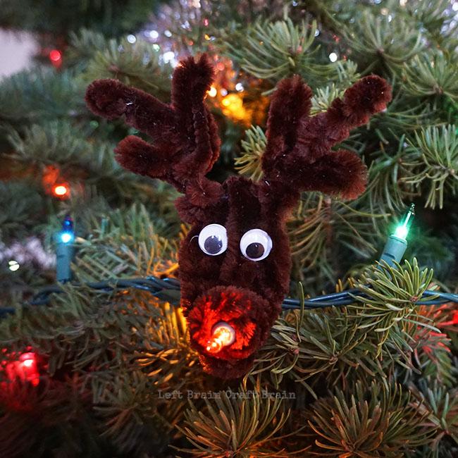 Light Up Rudolph Christmas Ornament Left Brain Craft Brain