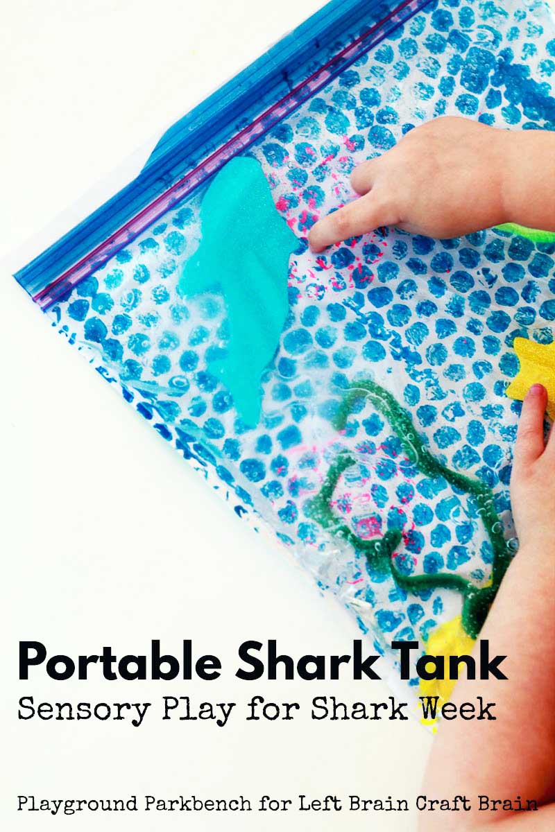Create a simple sensory play bag in the form a portable shark tank to celebrate Shark Week with kids of all ages. Your toddler or preschooler will LOVE making the multi-media and textured tank, carrying around their shark, and moving it around. | Sensory Play | Kids Crafts | Art for Kids | STEAM | STEM | Shark Week | Toddler | Preschool | Totschool