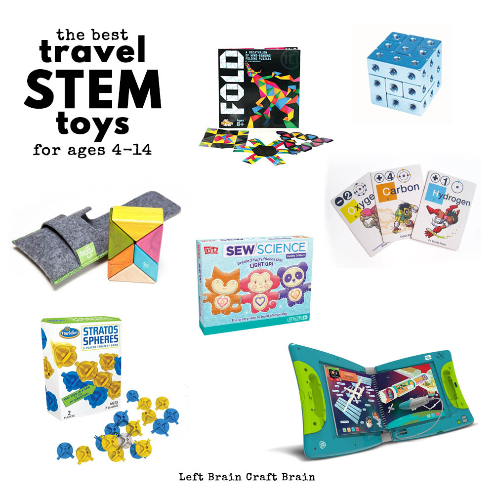 Hitting the road? Bring some fun travel STEM toys and games with you to keep the kids entertained. Favorites for ages 4 to 14 from an engineer mom!