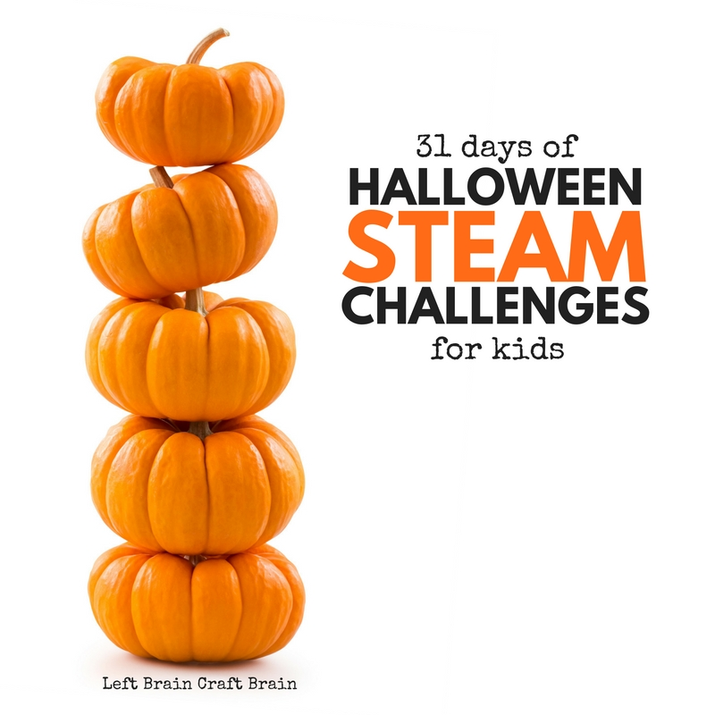 31 days of Halloween STEAM Challenges with stack of mini pumpkins