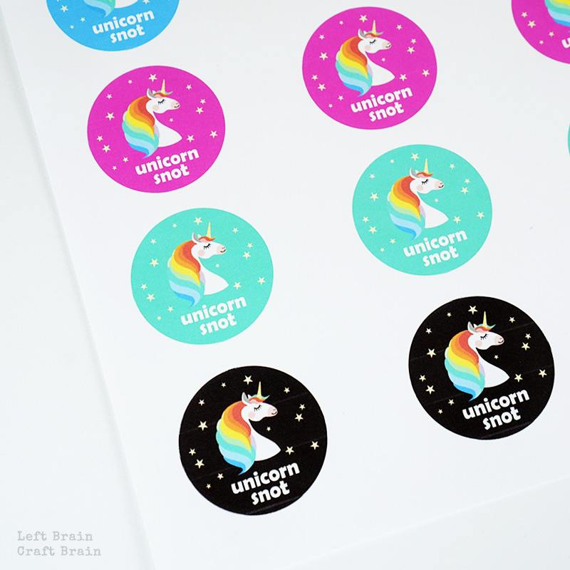 Glittery, sparkly, unicorn snot slime, complete with rainbow boogers. Why? Because unicorns. Plus a free printable label and tag!