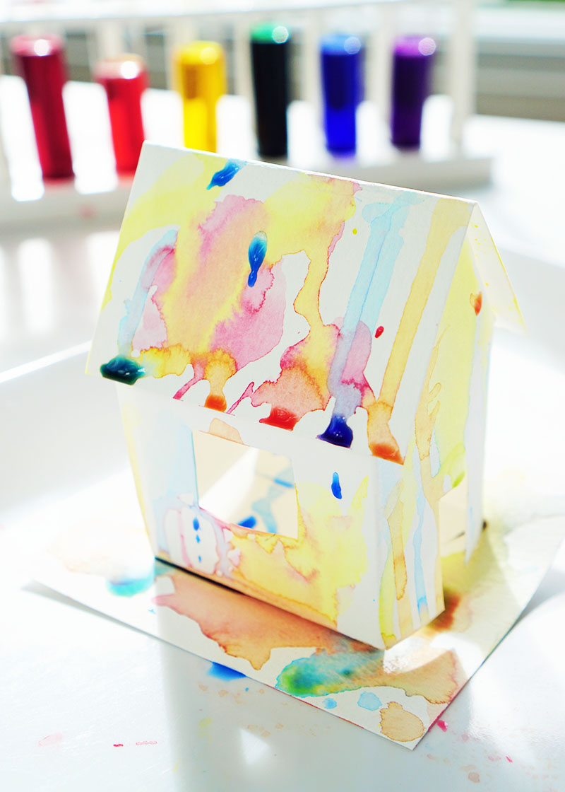 watercolor house with test tubes