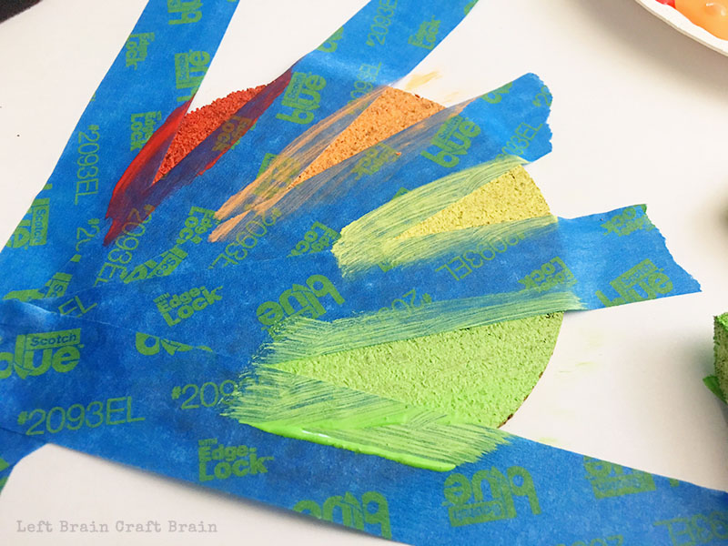 Paint each triangle of your painted coasters a different color.