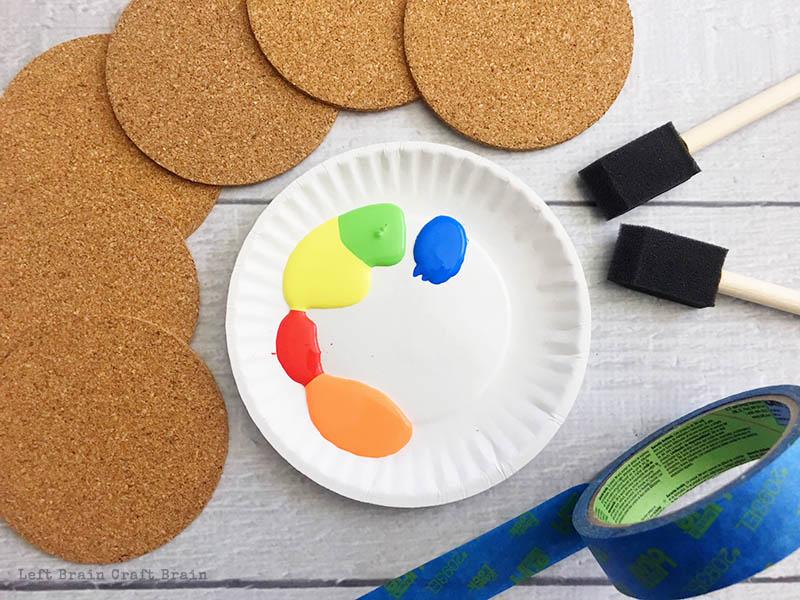 Homemade painted coaster materials.