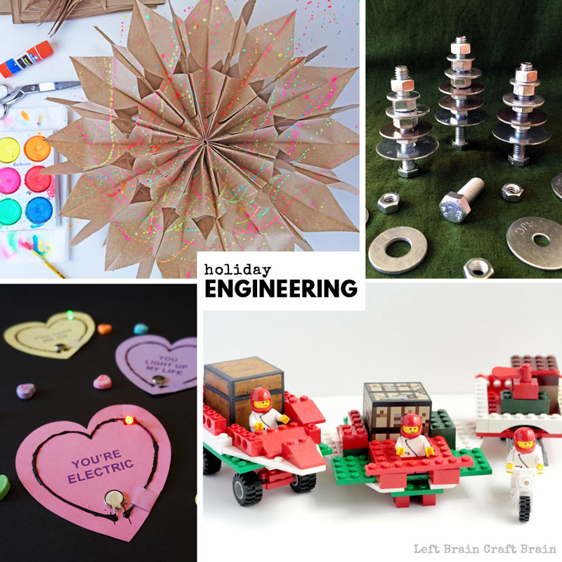 Festive holiday engineering projects for Christmas, Valentine's Day, Halloween.