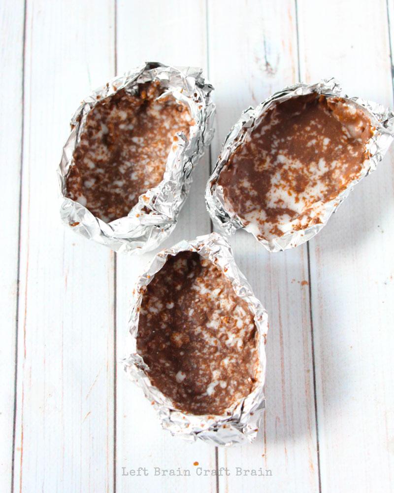 chocolatemetamorphic rocks in aluminum foil molds