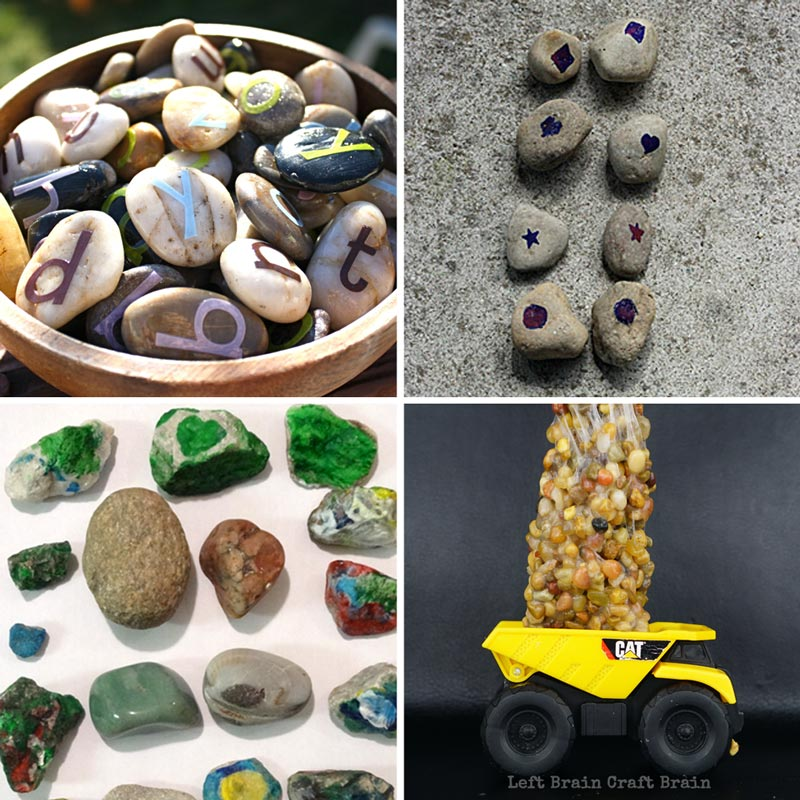 Rock activities like rock memory game, rock slime, rock collections, letter rocks