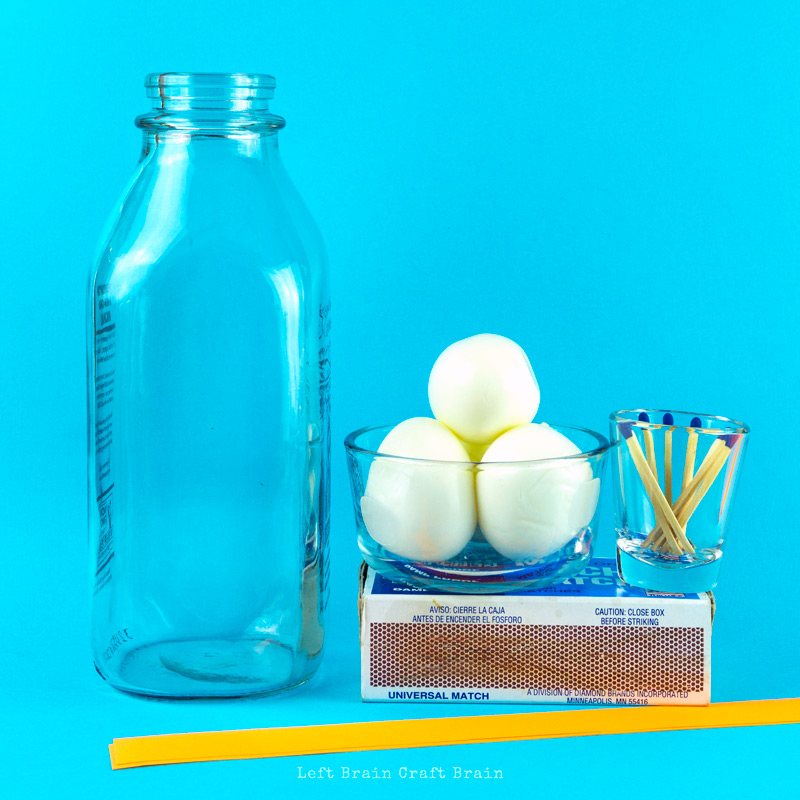 egg in a bottle science experiment supplies - eggs, matches, milk bottle, paper