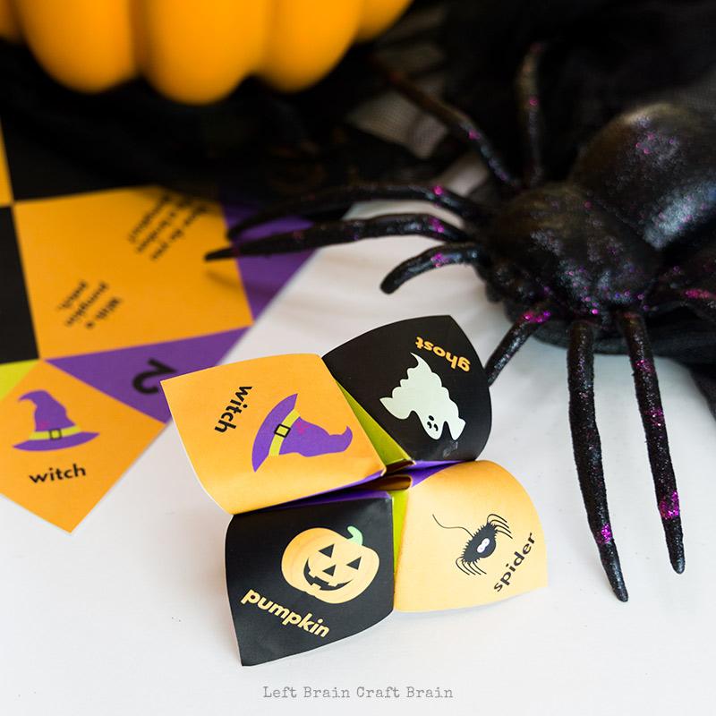 Halloween jokes cootie caatcher with spider and pumpkin