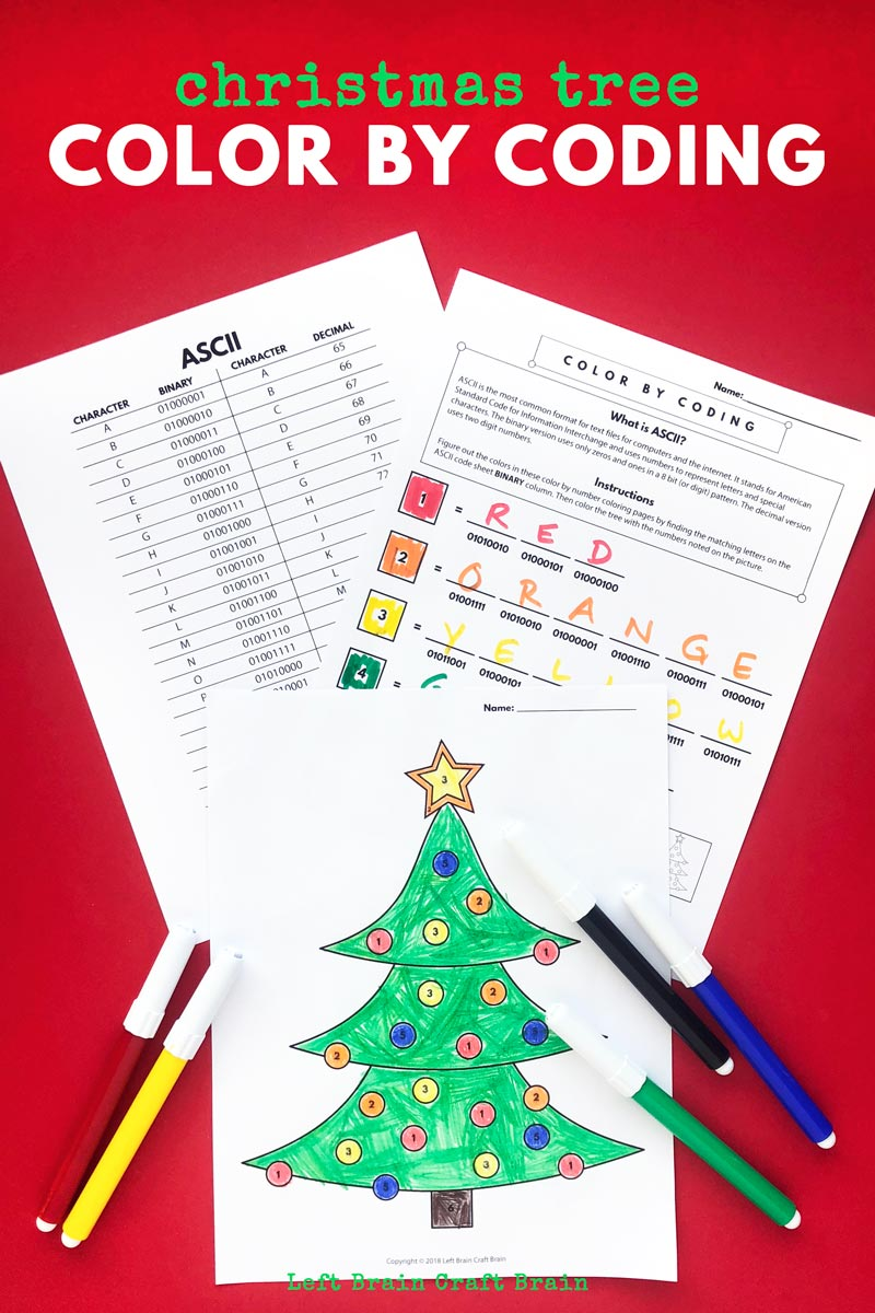Kids will love deciphering the code in this festive Christmas tree color by coding Christmas coloring page. This fun holiday activity uses ASCII to create color codes. It's an easy way to add STEM and STEAM to the classroom or home this December and Christmas.