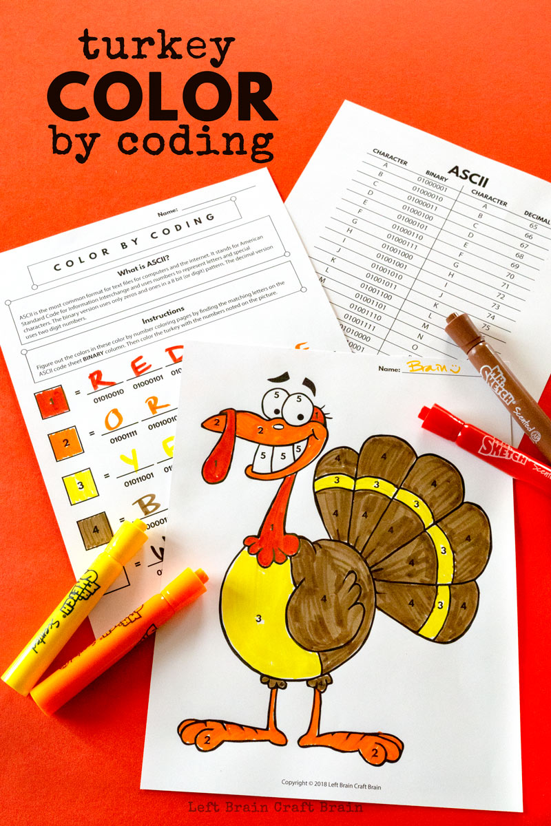 Kids will love deciphering the code in this cute Thanksgiving STEAM activity printable! Turkey color by coding uses ASCII to create color codes. It's an easy way to add STEM and STEAM to the classroom or home this November and Thanksgiving.