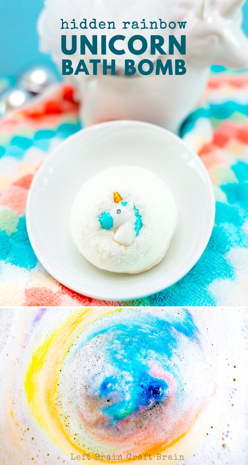 Bath time reveals a colorful surprise in these sweet Hidden Rainbow Unicorn DIY Bath Bombs.