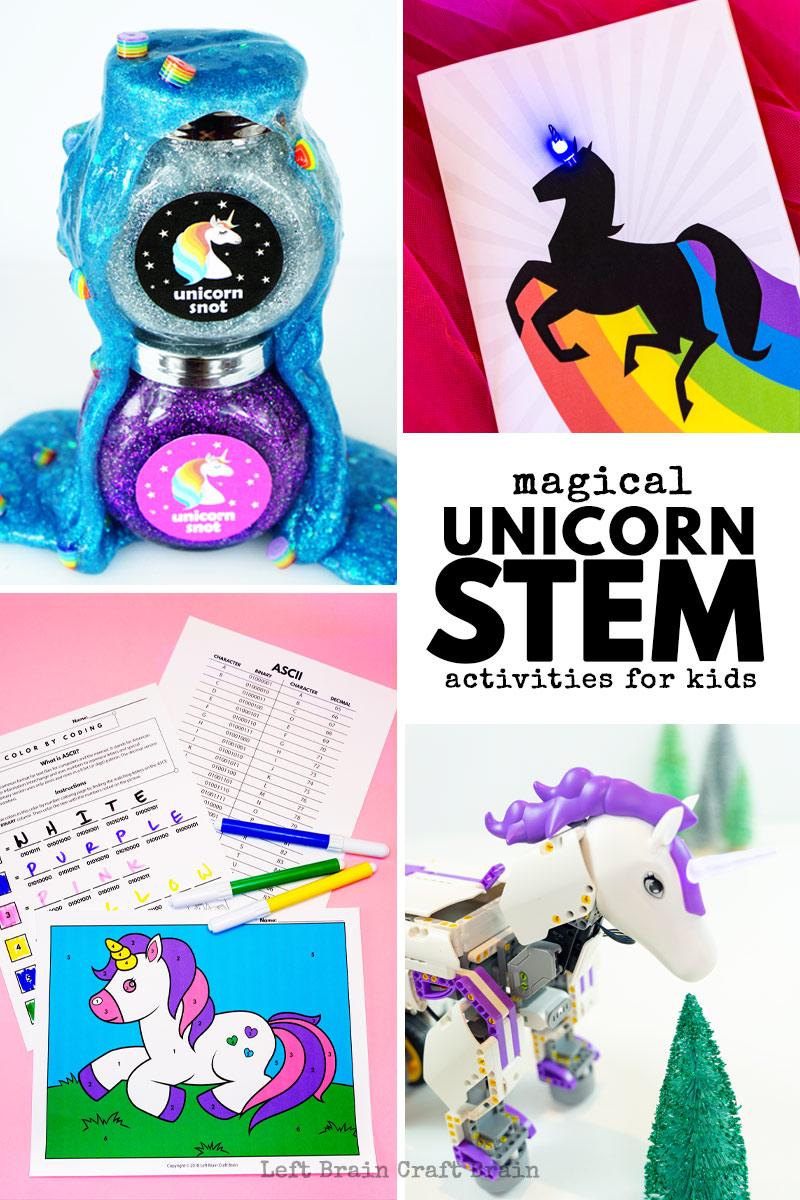 Kids will love these unicorn STEM activities like unicorn robots, unicorn science experiments, unicorn coding, and more!