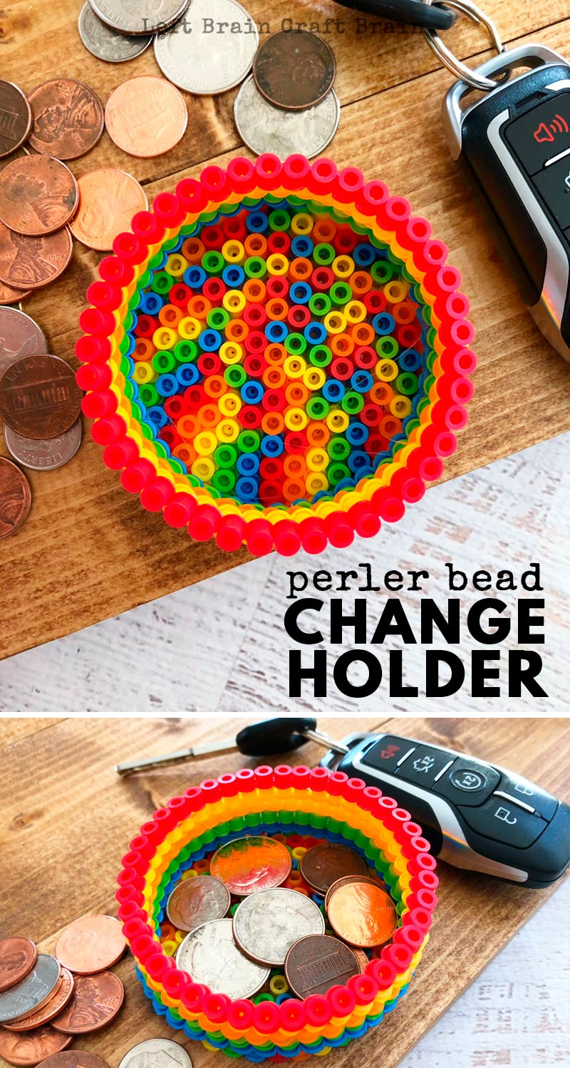 Homemade gifts are the best! Kids can make this colorful Perler Beads Change Holder as a fun homemade Christmas gift, homemade Father's Day gift, or homemade Mother's Day gift. No more lost coins!