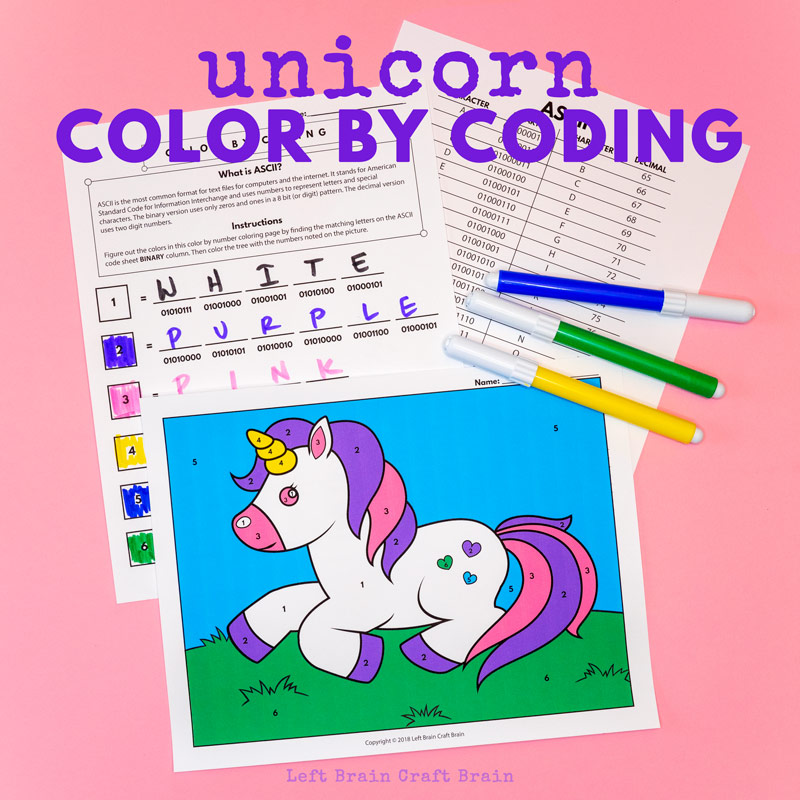 Kids will love the challenge of this Color by Coding Unicorn Coloring Page that uses ASCII binary and decimal codes to decipher the colors in the page. It's a fun and easy STEM / STEAM activity for home and school.