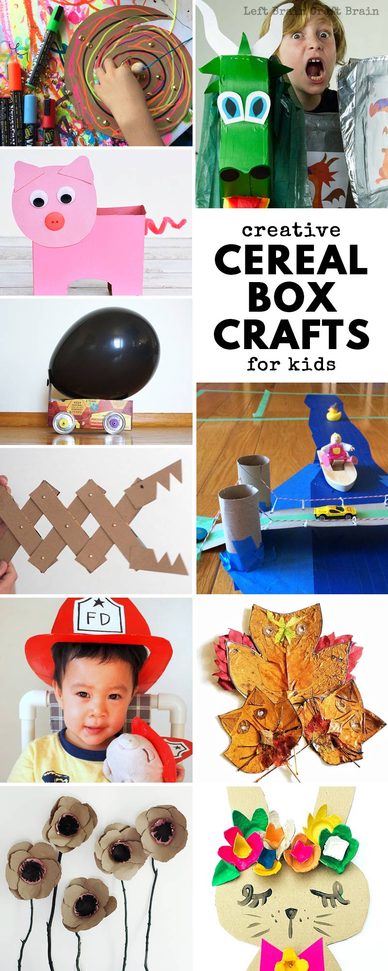 Gather up all those empty cereal boxes! Here's a mega list of 30+ Super Creative Cereal Box Crafts for Kids. Inside this creative list, you'll find cereal box cars, flowers, pretend play props, art projects and tools, cereal box animals, and more. Even a few life hacks, too. Cereal box projects are fun and inexpensive!