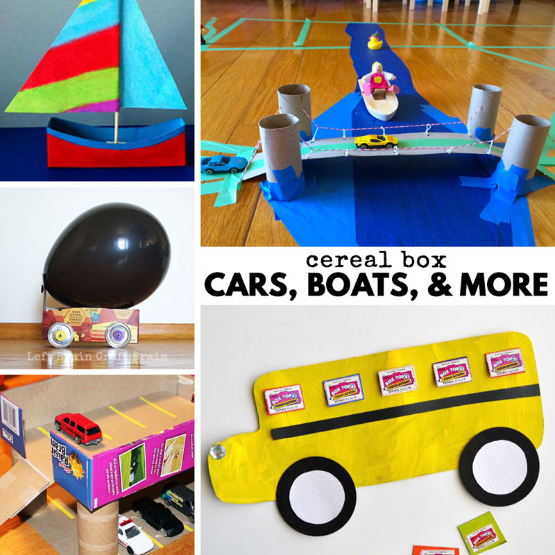cereal box cars, boats and more