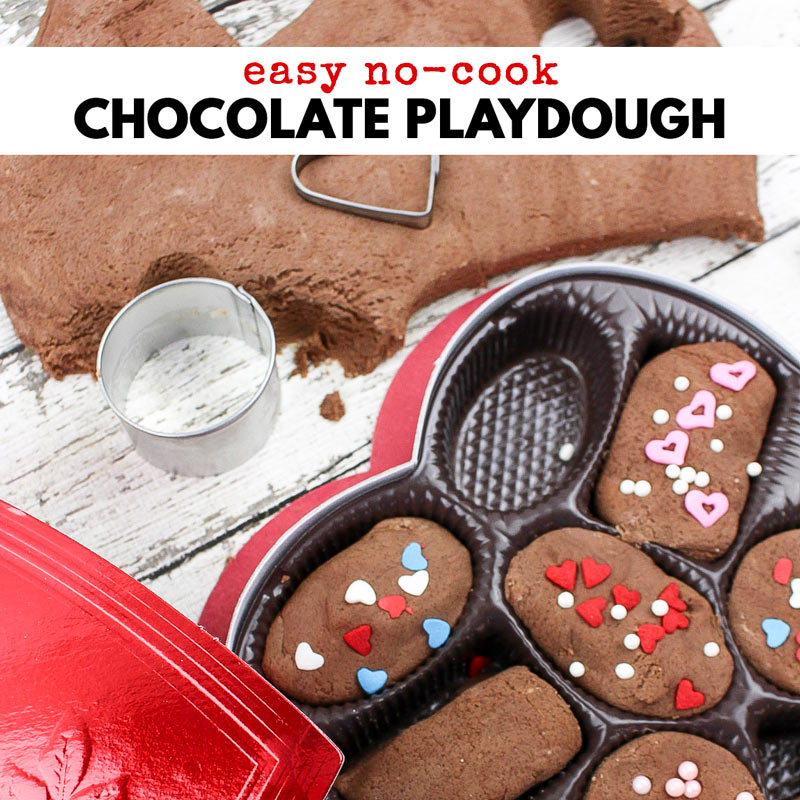 Play with chocolate instead of eating it with this Easy No-Cook Chocolate Playdough! You and the kids will love the delicious chocolate scent of this chocolate play dough recipe. Plus, they'll have tons of fun turning it into chocolates in a real Valentine chocolate box.