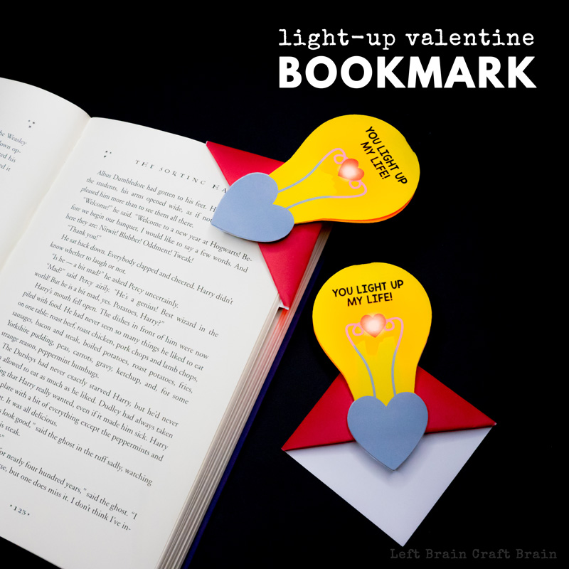Make this light-up Valentine corner bookmark to show your love for books, STEM, or your Valentine this February 14th! #STEM #leftbraincraftbrain #papercrafts #origami #circuits #STEAM
