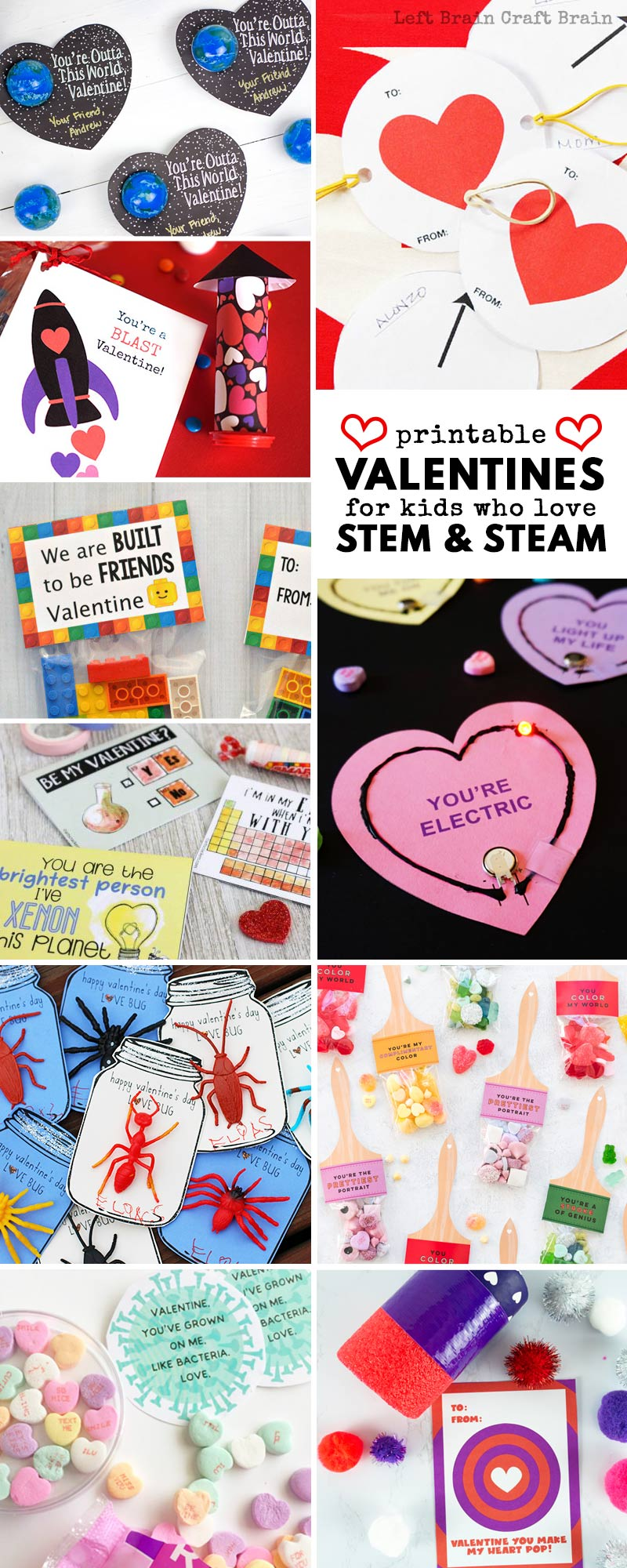 Show your love for STEM and STEAM (science, technology, engineering, art, and math) with these cool (and free) printable Valentine cards. Printable Valentines make celebrating Valentine's Day super easy and fun.