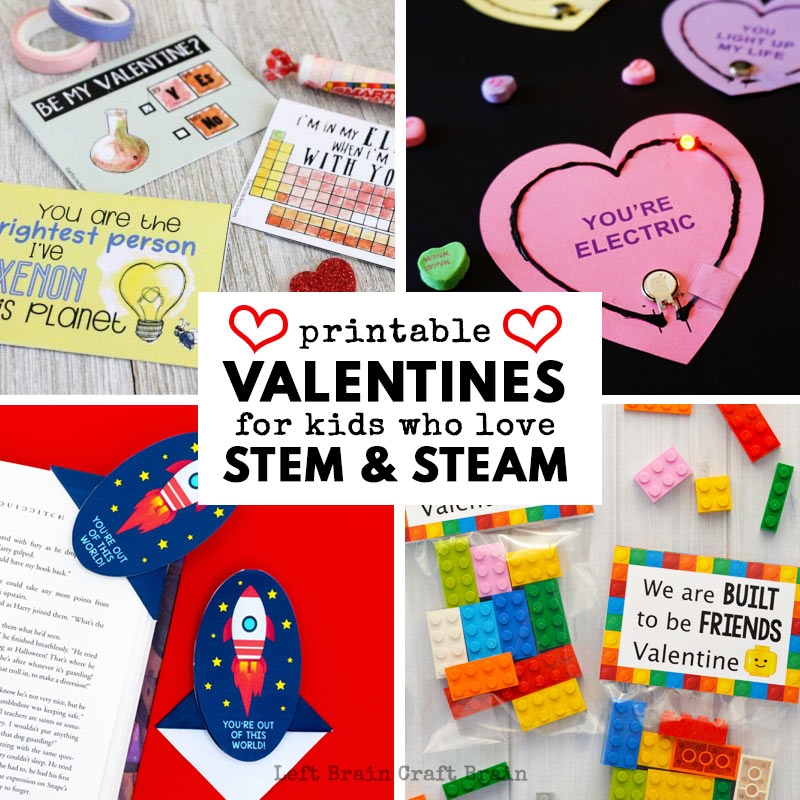 printable valentines for kids who love STEM and STEAM