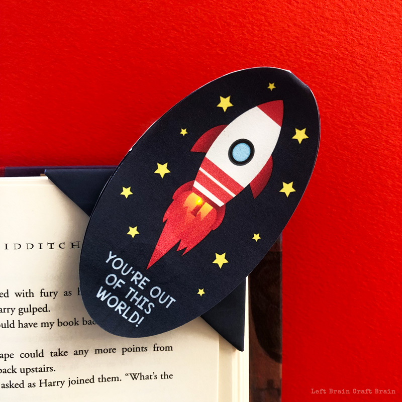 You're Out of This World Light Up Rocket Corner Bookmark