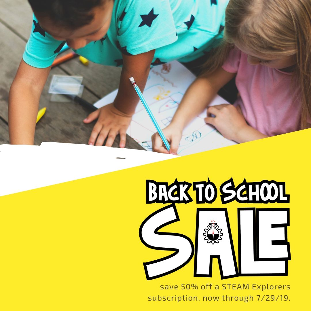 Back to School Sale Yellow Angle with Kids
