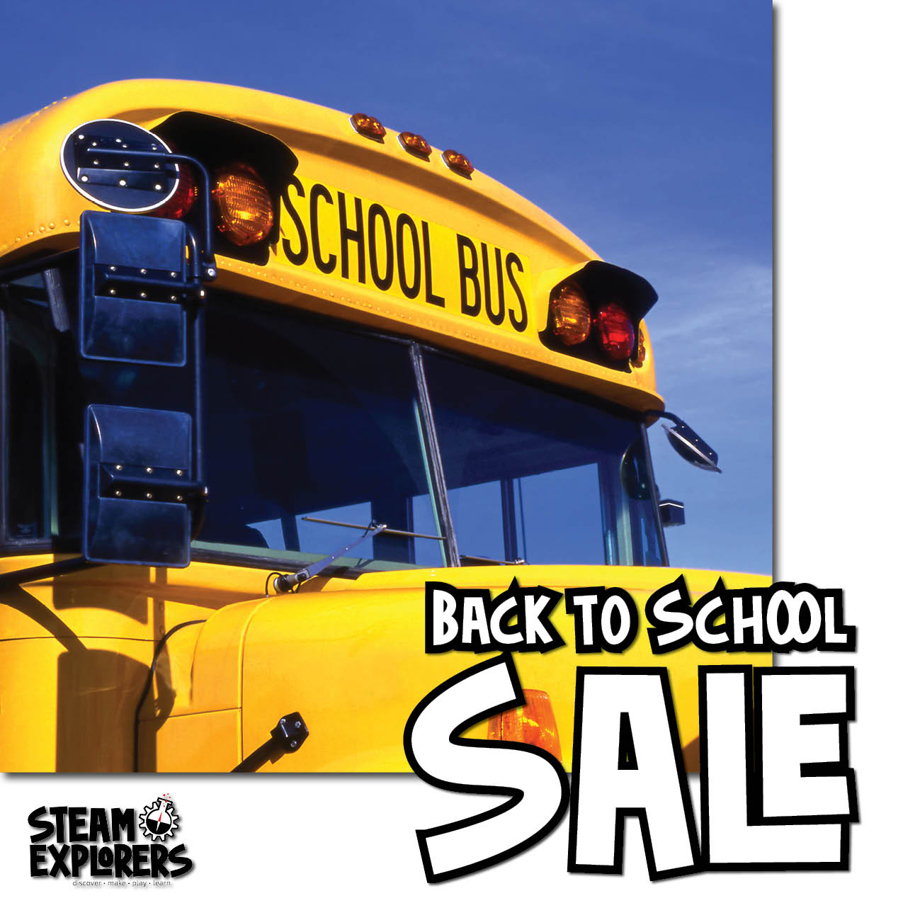 STEAM Explorers Back to School Sale - Bus on White 1000x1000