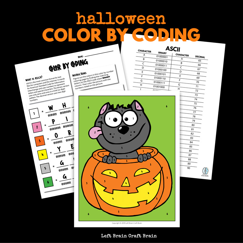 Halloween cat in pumpkin color by coding