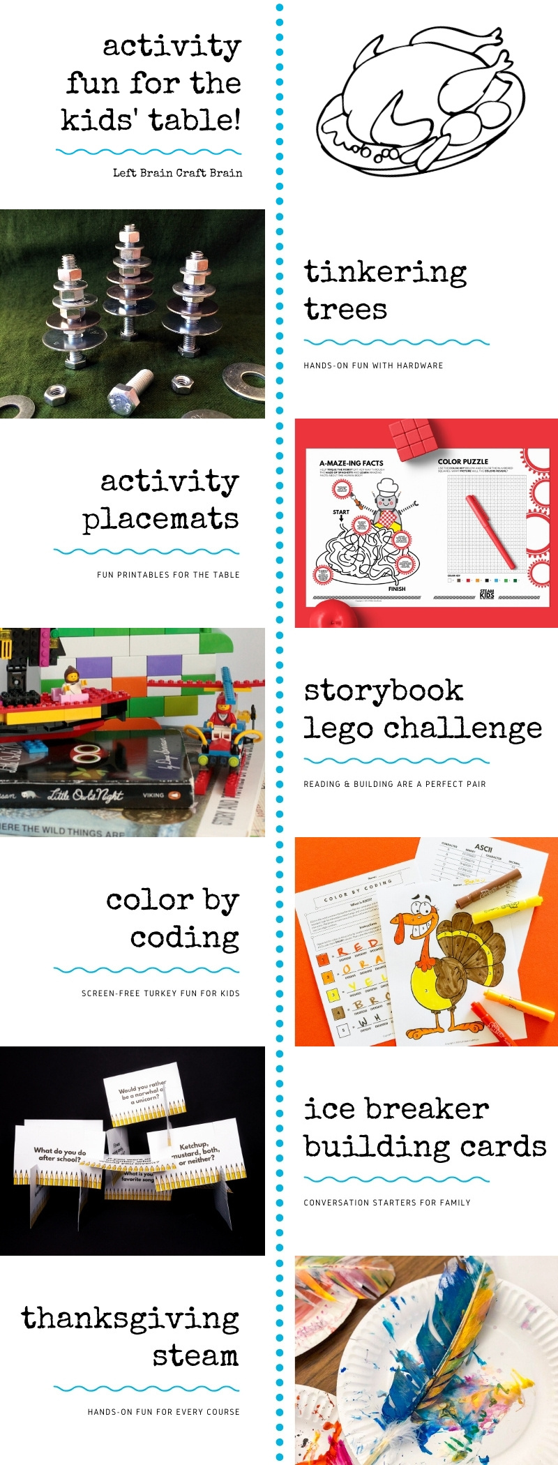 Looking for some fun stuff to do at the kids' table for the holidays? Add some STEAM (science, technology, engineering, art, and math) and make it more interesting! These easy hands-on activities and fun printables will add something unique for the kids this year.