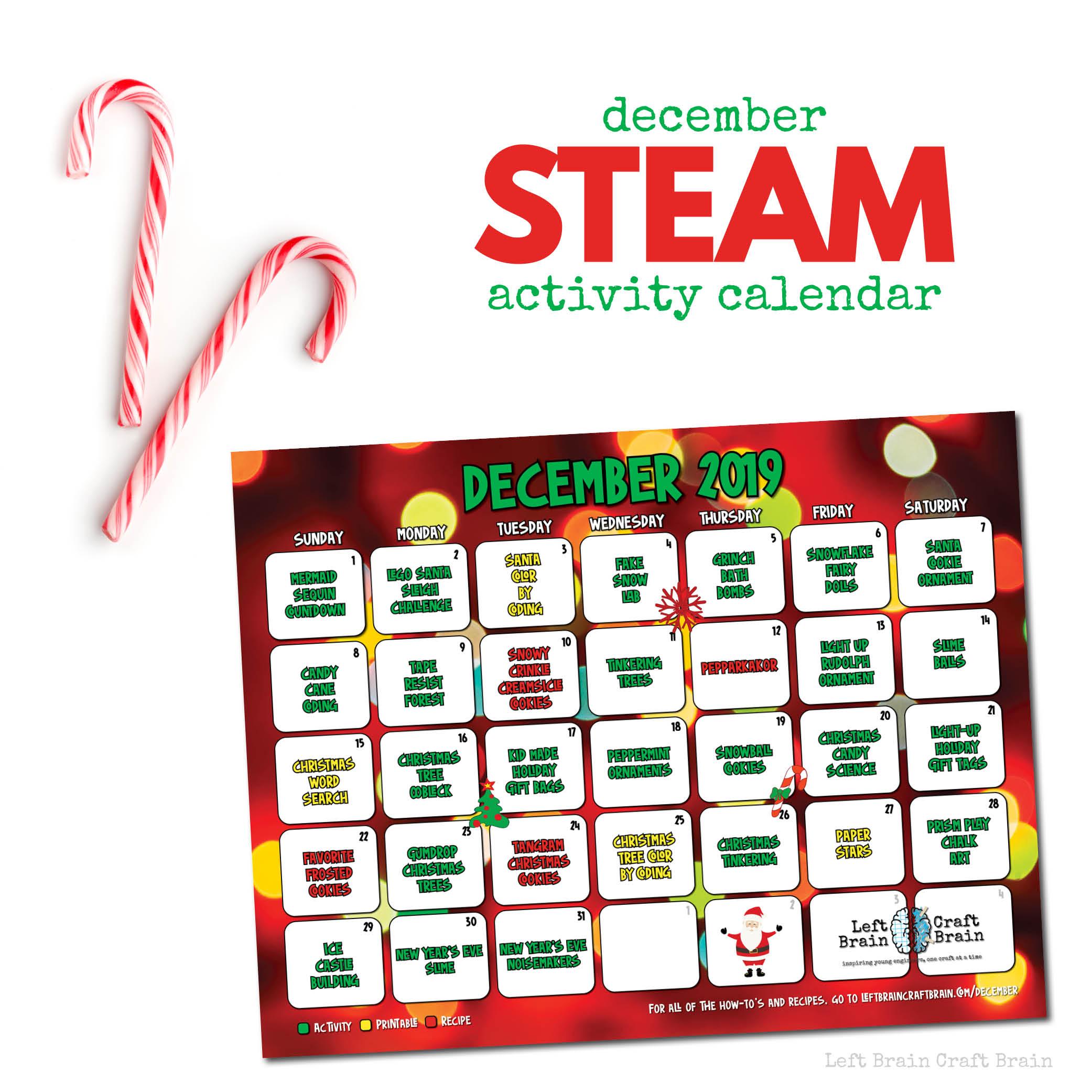 December STEAM Activity Calendar 1000x1000 v2