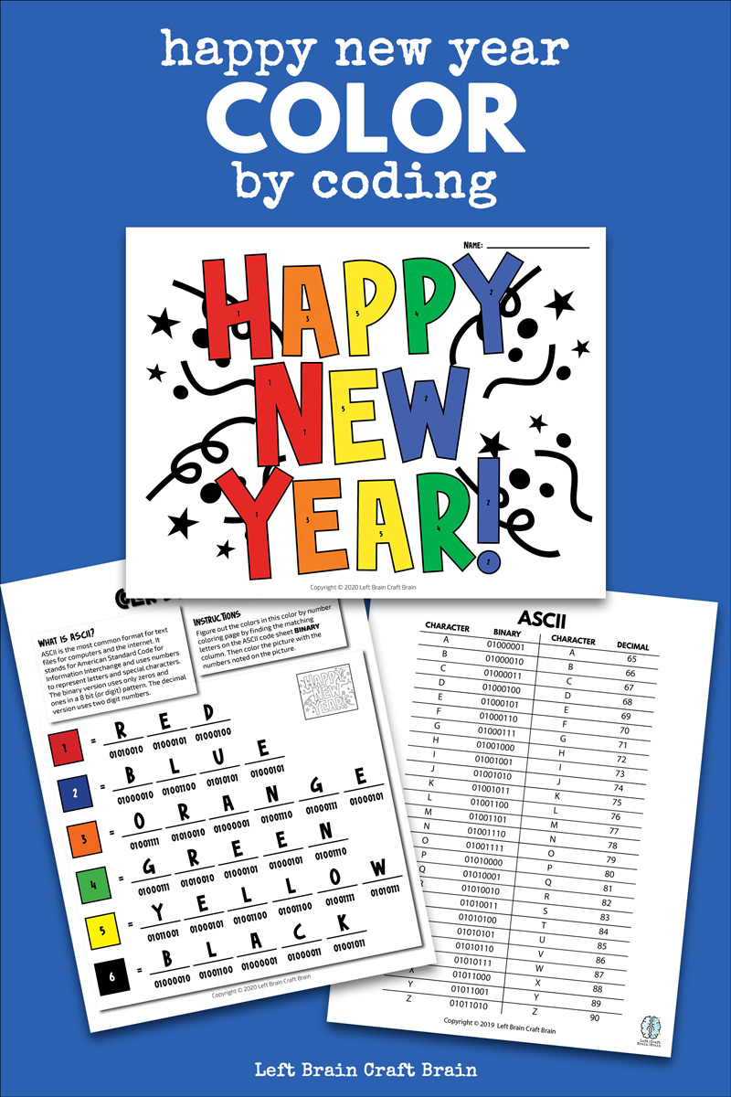 Kids will love deciphering the code in this festive color by coding Happy New Year coloring page. This fun holiday activity uses ASCII to create color codes. It's an easy way to start the new year with STEM and STEAM to the classroom or home!