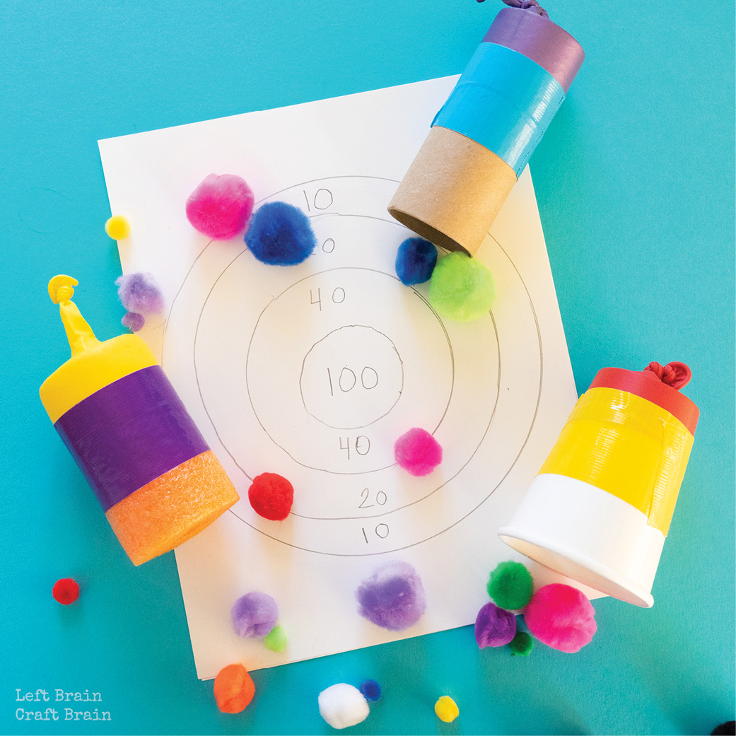 three different types of pom pom shooters with drawn target