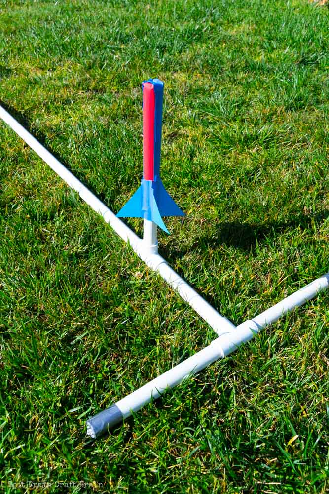 Closeup of the diy stomp rocket launcher with duct tape on ends